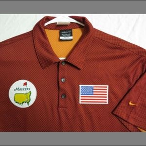 XL Red NIKE Dri-FIT USA MENS Polyester #72F Polo